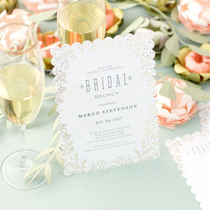 bridal shower invitations registry etiquette%0A Botanical Luster  Signature Foil Bridal Shower Invitations with Square  Corners  Luxe  foil