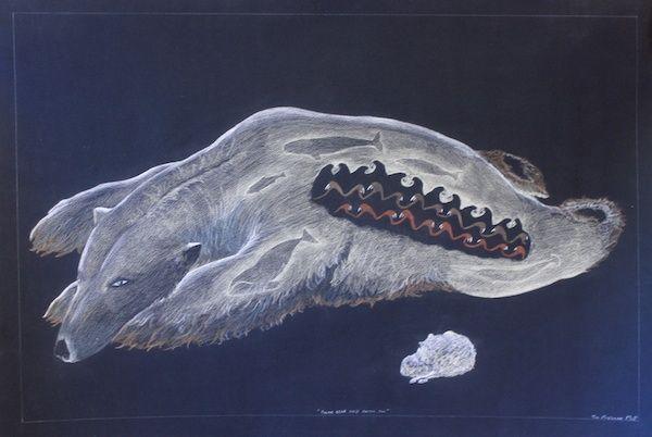 Tim Pitsiulak - Polar Bear and Arctic Fox 30 x 44 Chalk pastel on paper