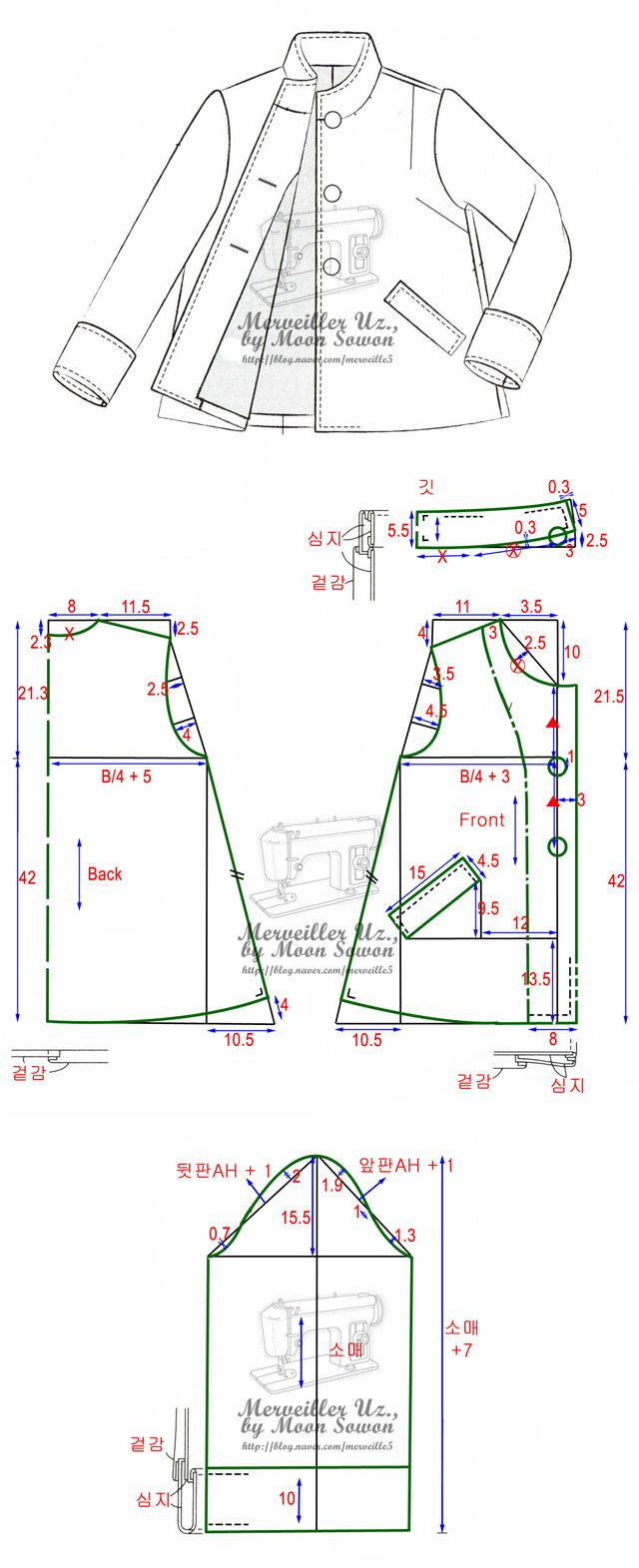patron chaqueta cuello mao http://blog.naver.com/merbei