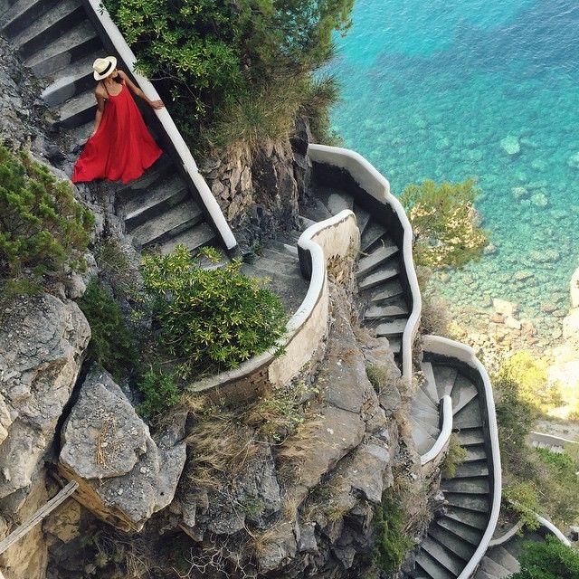 The Amalfi Coast - stairs to the beach