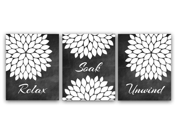 Bathroom Decor Artwork : Bathroom wall art relax soak unwind instant download