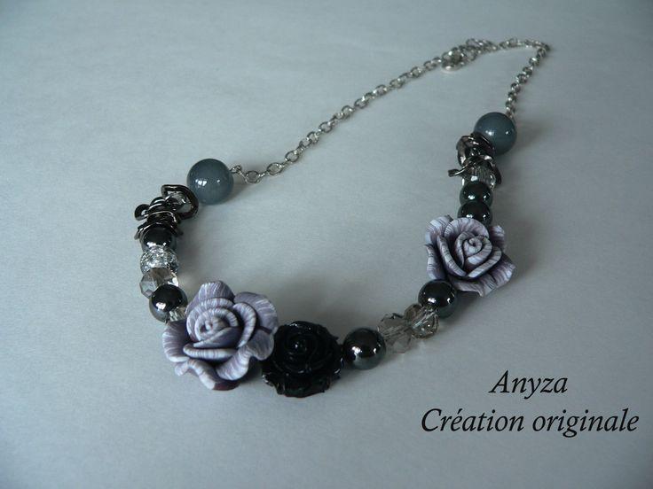 collier court fleur, fait par Annie