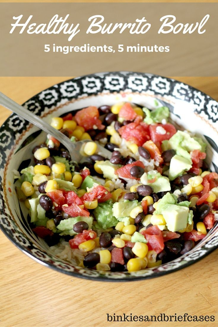 Healthy Burrito Bowl. This quick and easy recipe works for lunch or dinner and is ready in five minutes.