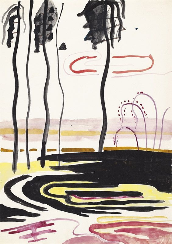 Untitled (Landscape with Black Palm Trees), ca. 1968 Gouache, watercolor, India ink on paper 29.5 x 21 cm