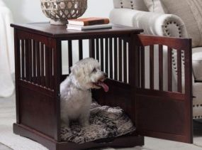 Small Wooden Pet Crate kennel cage end table furniture dog pen indoor house bed