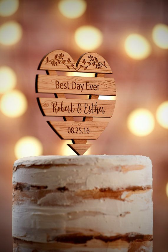 Personalized Wedding Cake Topper Rustic by WeddingTreeGuestbook