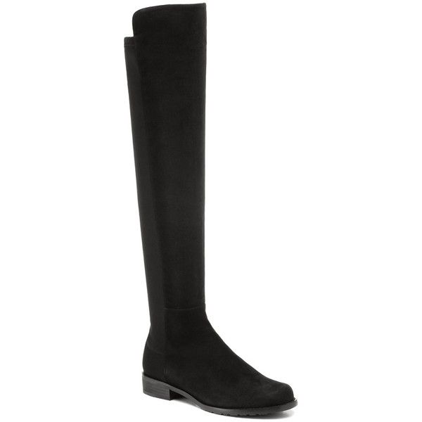 Stuart Weitzman The 5050 Boot ($655) ❤ liked on Polyvore featuring shoes, boots, black suede, over-the-knee boots, thigh high boots, black leather over the knee boots, black leather boots, stretch thigh high boots and pull on leather boots
