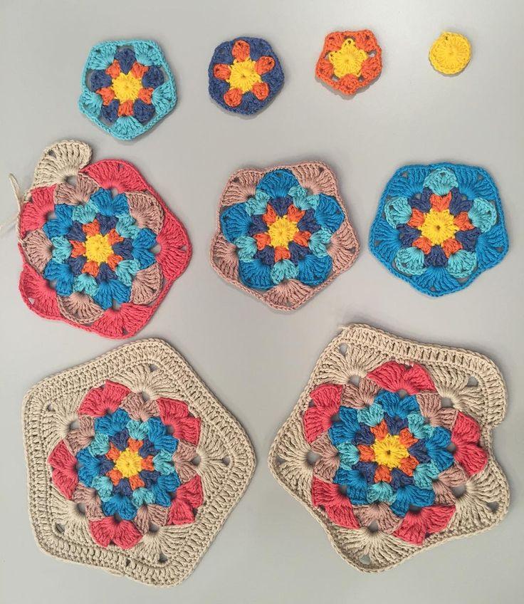 Hobi köşesinde bugün yapılan gökkuşağı hırkanın motif yapımı. Kullanılan yün Nako Calico. Tığ no: 3 Kış için önerilen yün Nako Vega #deryabaykallagulumse #gökkusagihirka @sibelkavaklioglu