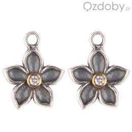 Zawieszki na kolczyki w kolorze srebrnym w kształcie kwiatuszków