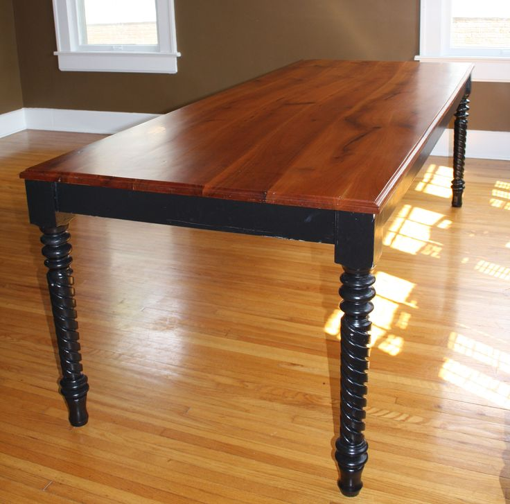 Cherry Top Dining Room Table With Spiral Turned Legs Boards Are Curved With  The Grain And