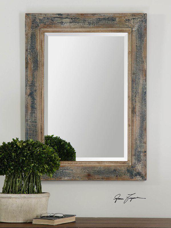 Janie Rectangular Wall Mirror Wood Mirror Blue Wall Mirrors