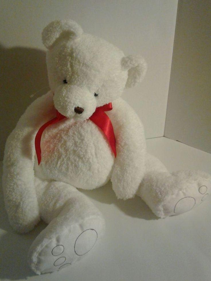 """Bath Body Works Cubby Stuffed Plush Teddy Bear White Bear Red Bow 22""""  #CubbyByBathAndBodyWorks"""