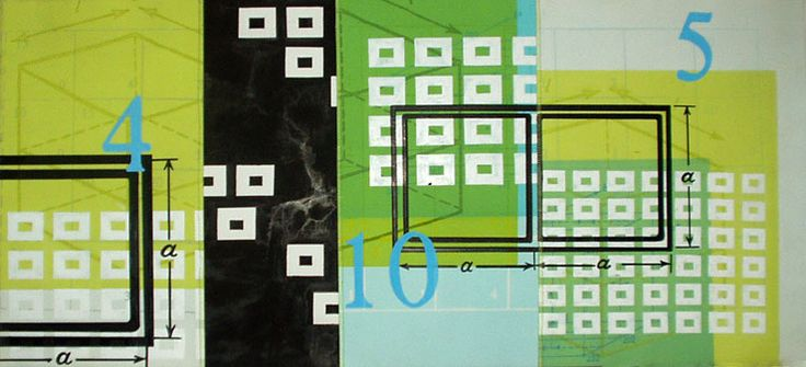 Amanda Knowles. Numeric IV 2005. Mixed media on paper 1/1. 14 3/4 x 32 1/4 inches.