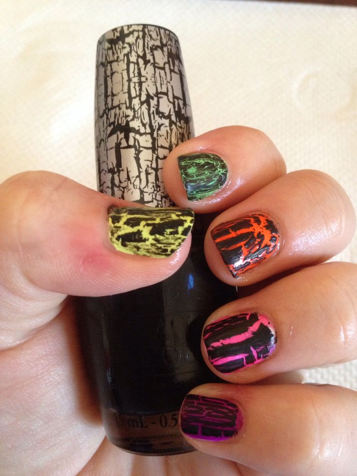 Neon Shatter Inspired by @nutmegnails