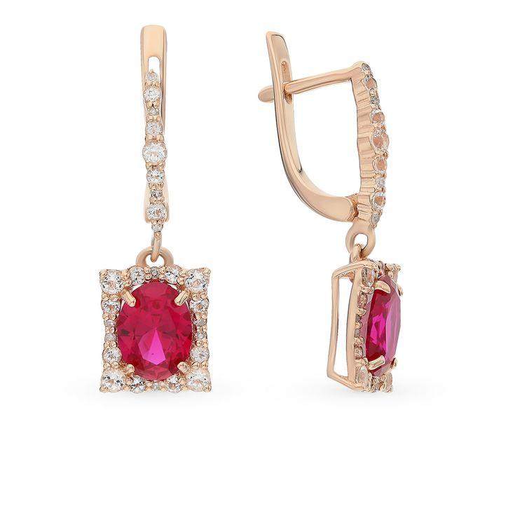 Золотые серьги с бриллиантами, топазами и рубинами SADKO: розовое золото, рубин, топаз, бриллиант — купить в интернет-магазине SUNLIGHT, фото, артикул 61348