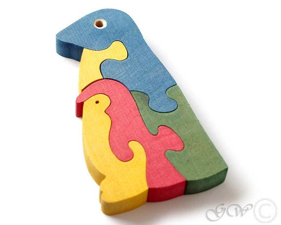Wooden Puzzle Penguins Wooden toys. Wooden Animal by GreenWoodLT
