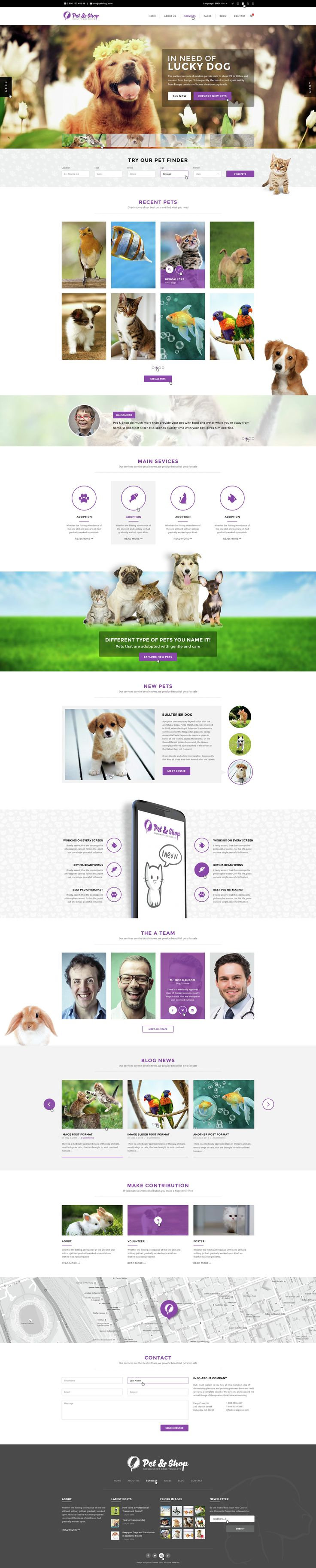 Pet & Shop | Premium Pet Care PSD Template is a powerful and Rich Template made specially for pet care websites and pet shops. It has included a 2 variants of HomePages and also a boxed and a wide...