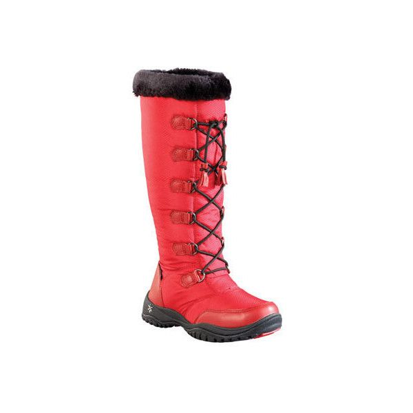 Women's Baffin Eska Snow Boot ($180) ❤ liked on Polyvore featuring shoes, boots, casual, red, winter boots, waterproof winter boots, mid calf winter boots, mid-calf boots, red winter boots and red shoes