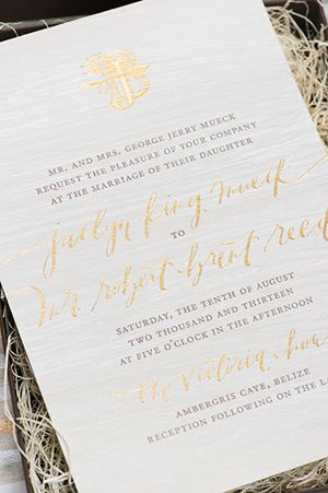 Jaclyn + Brent's Tropical Destination Wedding Invitations | Oh So Beautiful Paper | Design: Papellerie | Calligraphy: Abany Bauer of Brown Linen Design | Photo Credits: Adam Nyholt