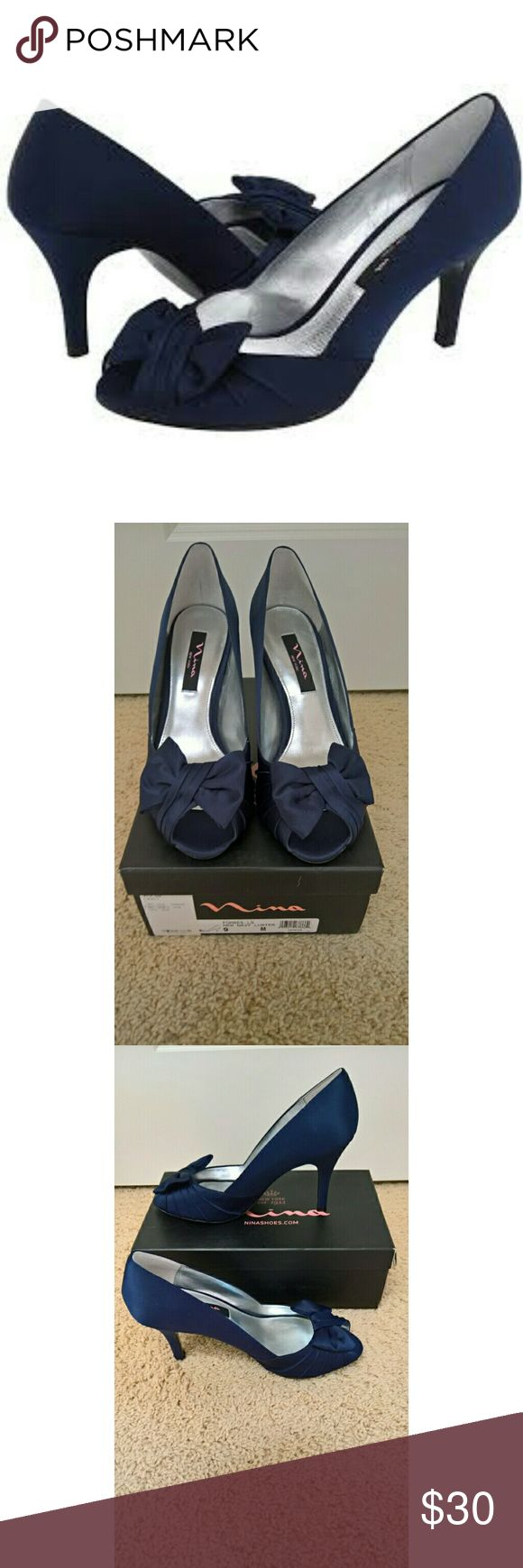 """NWT Nina Forbes Satin Pumps New with tags (never worn)! The Forbes Peep-Toe Pump in New Navy Luster gives femininity a new meaning. This is the perfect satin shoe for your next special occasion. Wear with an elegant wrap dress and your favorite necklace to make a statement of sheer elegance. Perfect For: Brides, Brides Maids, Guests, Formals & Proms. Features 3"""" heel, satin bow, pleated vamp, satin upper and leather sole.Comes from a smoke-free and pet-free home. Nina Shoes Heels"""