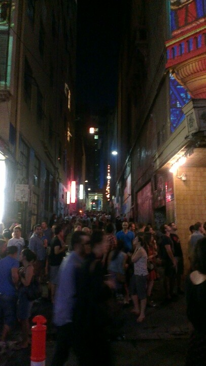 Packed laneway, White Night Melbourne.
