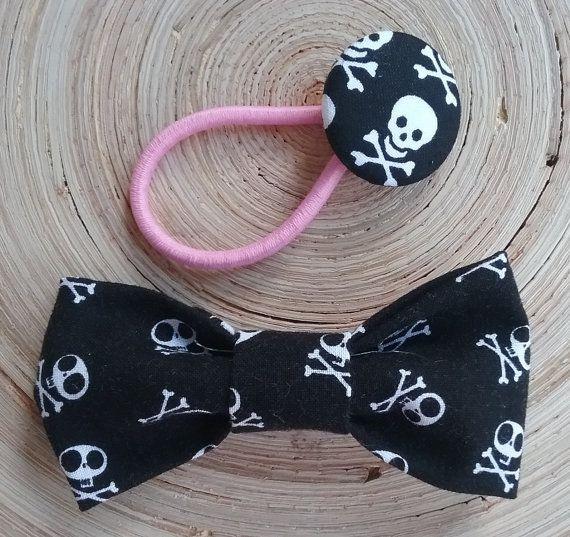 Skulls & Crossbones Hair Bow Girls Black White Skulls Hair