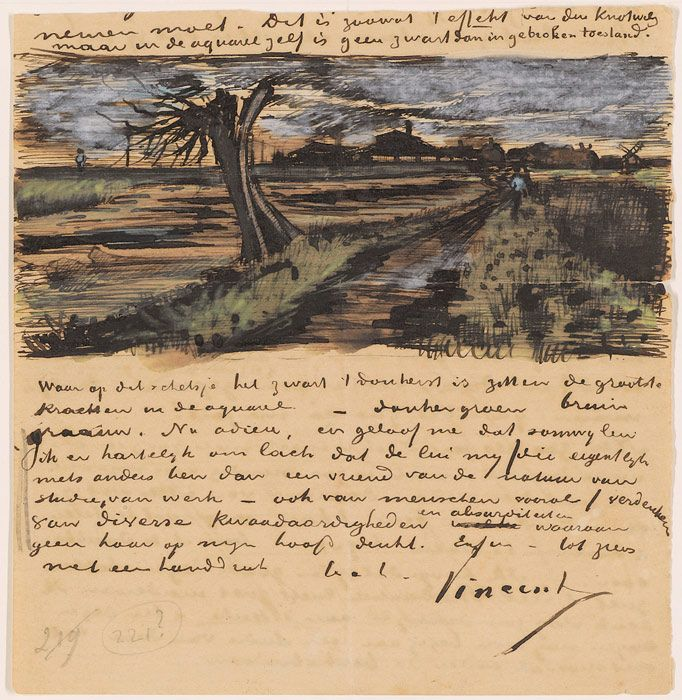 Vincent van Gogh, Letter 252 from Vincent van Gogh to Theo van Gogh: Pollard Willow, c. 1 Aug 1882, Letter, 13.8 x 13.4 cm, Van Gogh Museum, Amsterdam (Vincent van Gogh Foundation). *