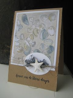 Handmade card by DT member Boukje with Craftables Punch Die - Sea Shells (CR1363), Clear Stamps Tiny's Background  Sea Shells (CS0970) and Eline's Mindfulness Geluk (EC0163) from Marianne Design