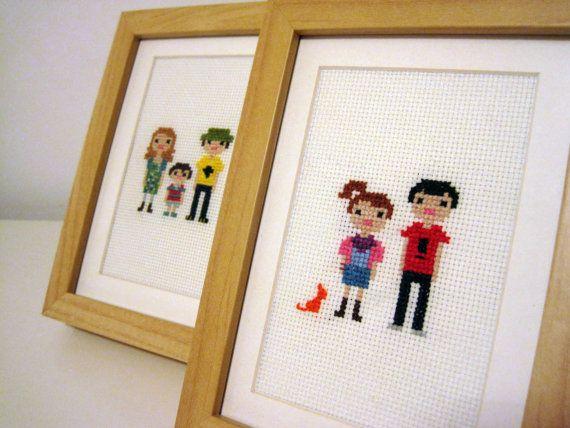 Custom Family Pixel Cross Stitch Portrait (Framed). $40.00, via Etsy.    Want to make a family portrait!