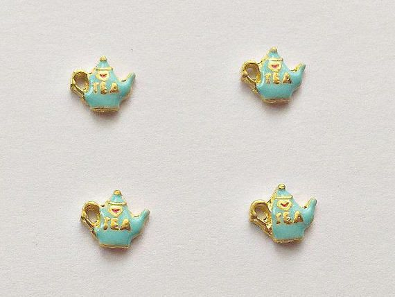 4 Teapot Floating Charms  Glass Locket Charms  Floating