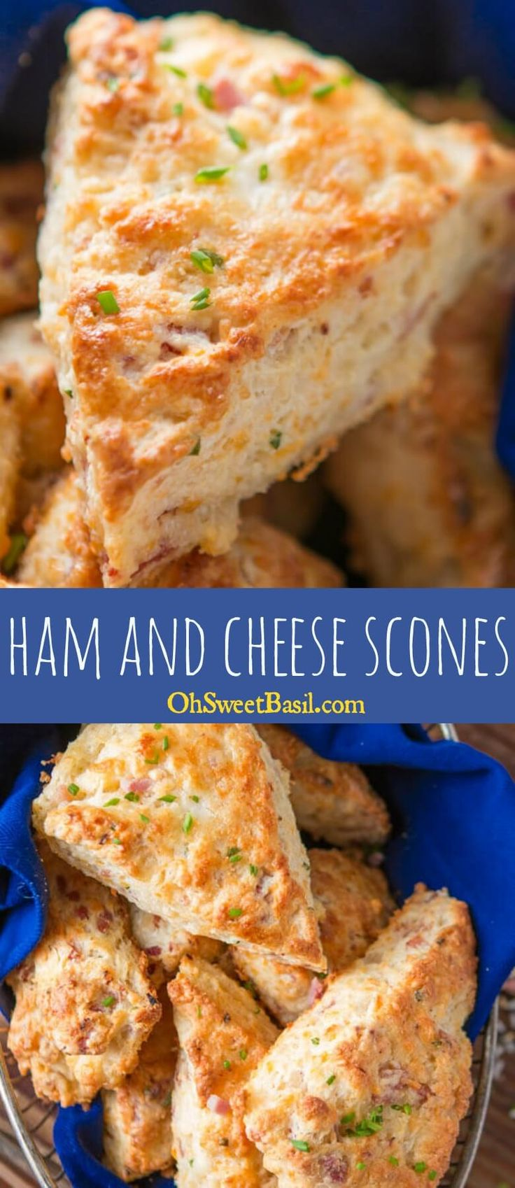 Easy Ham and Cheese Scones via @ohsweetbasil