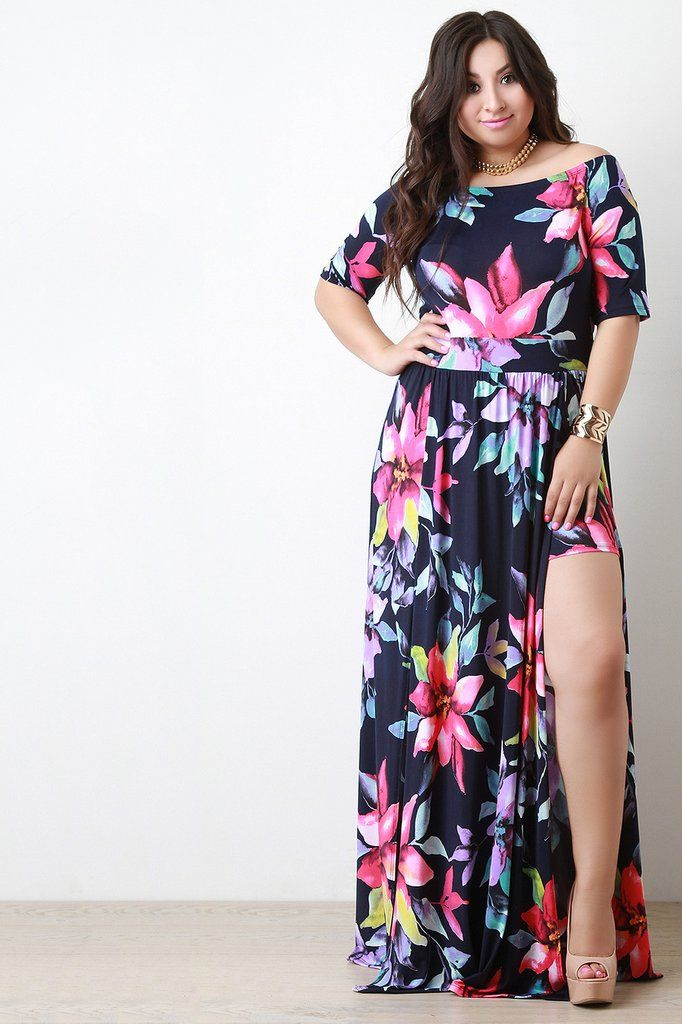 860751a34680 Off The Shoulder Double High Slit Floral Dress … | Plus Sized Pretty |  Flora…