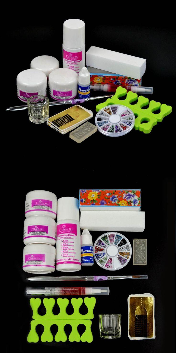 [Visit to Buy] Acrylic Nail Kit 75ml Acrylic Liquid Manicure Set Nail Glitter Powder Dust Sets Brush Cuticle Oil Acrylic Powder Nails Set TZ002 #Advertisement