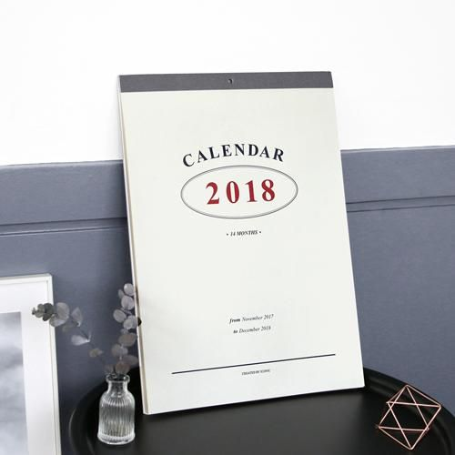 Wall Calendar 2018 Big Size Monthly Paper Sheets 15P Korean Fashion Stationery