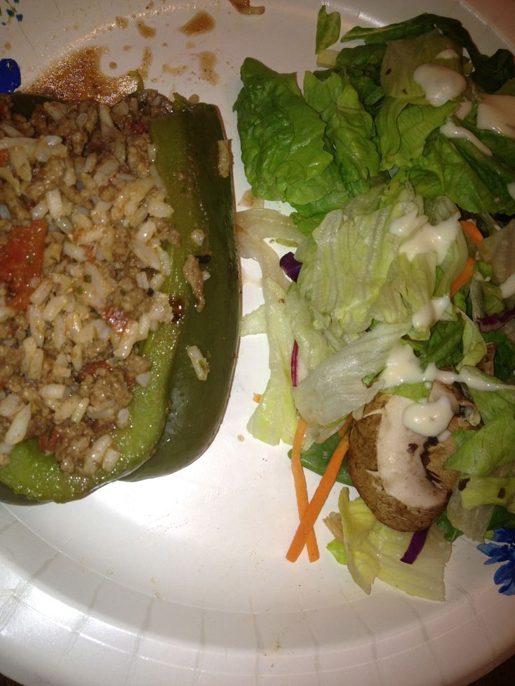 Stuffed Bell Pepper and Salad