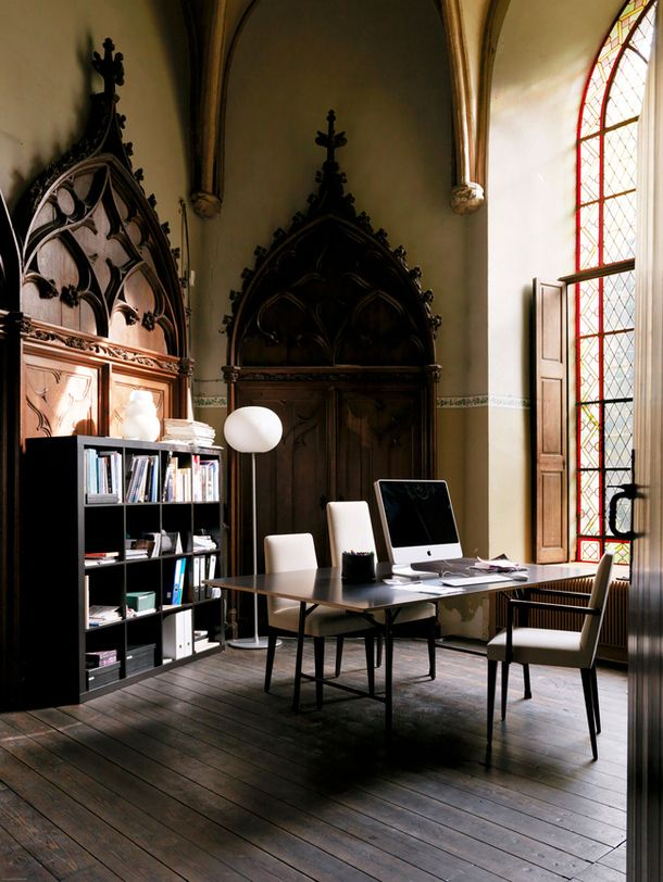 Who wouldn't feel inspired in this Gothic office?