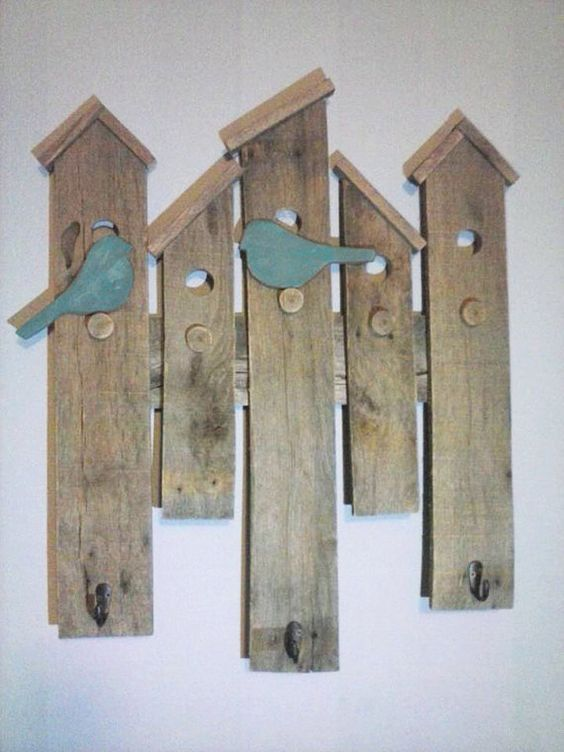 Bird House Wall Hanging with Coat Hooks made from upcycled pallet wood