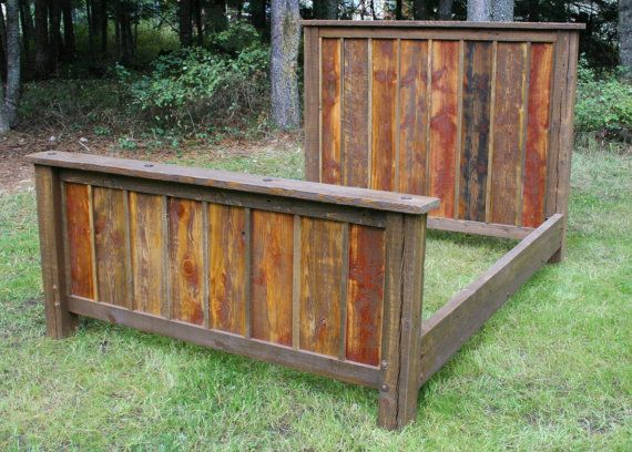 Reclaimed wood headboard etsy woodworking projects plans for Rustic bed plans