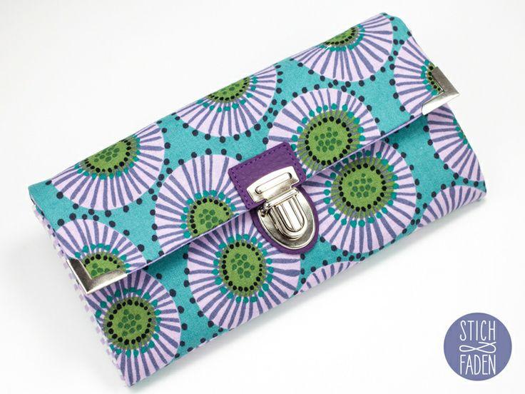 Portemonnaie Geldbörse türkis lila grün Blume von Stich & Faden auf DaWanda.com