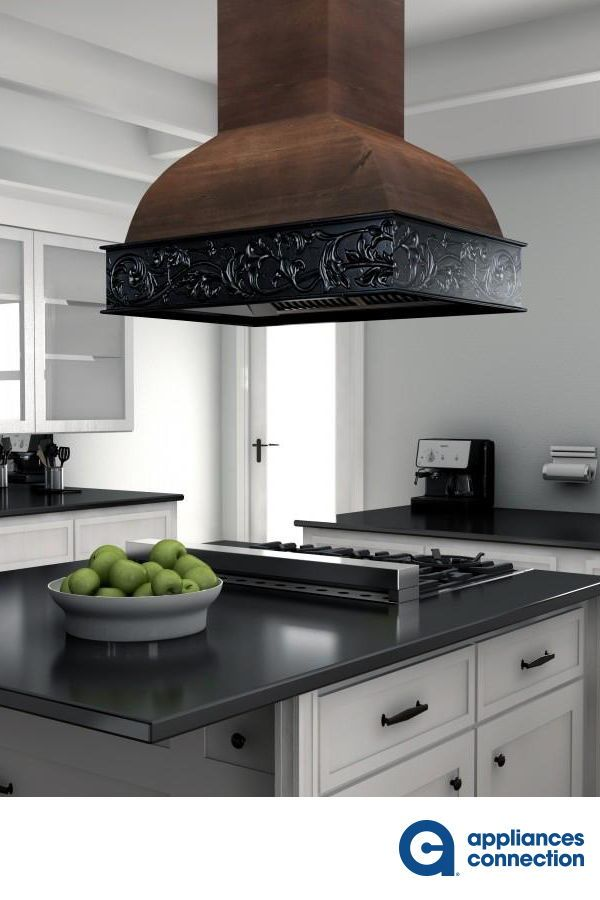 Designer Series 36 Inch Island Mount Ducted Hood With 1200 Cfm Led Lights Push Button Control In Walnut With Antigua Black Band In 2020 Kitchen Appliances Appliances Kitchen