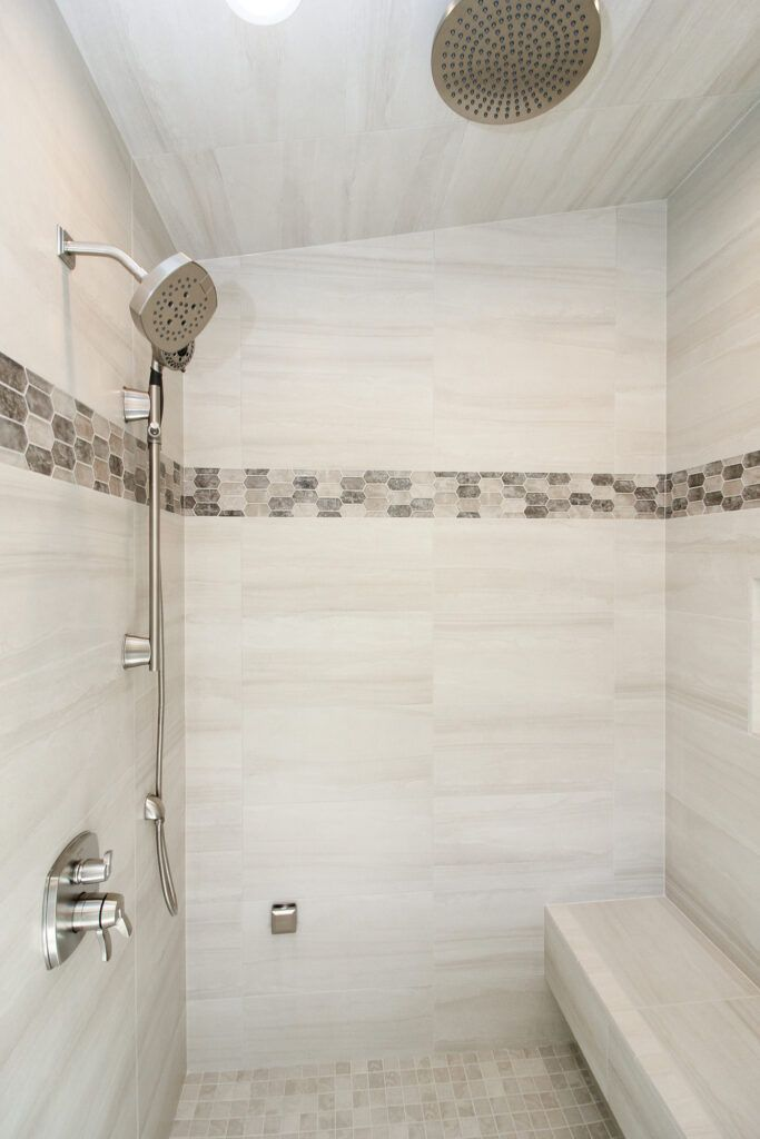 Gray And White Marble Tile With Picket Multicolored Accent Tiled Shower Bathroom Redesign Bathroom Remodel Shower Bathroom Shower Tile Popular examples of bathroom tiles