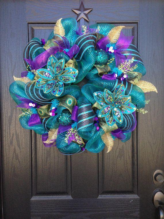 BIRD of PARADISE Mesh Wreath by GlitzyWreaths on Etsy, $90.00