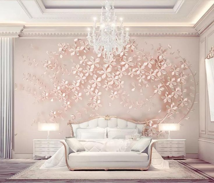Large mural elegance 3d stereoscopic flower rose gold