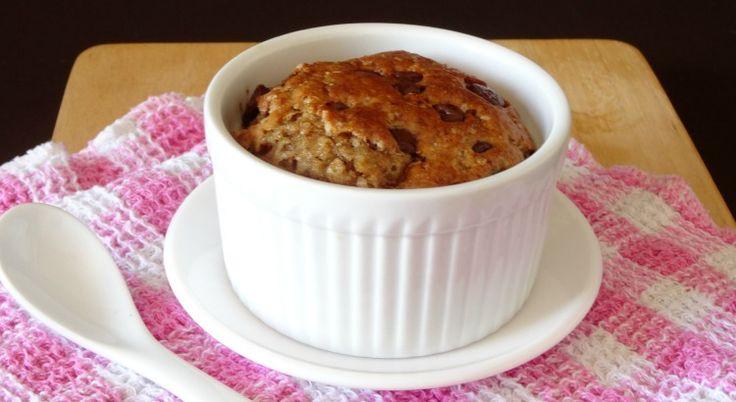 Skinny Single-Serving Chocolate Chip Cookie Cake via @happyhealthymot
