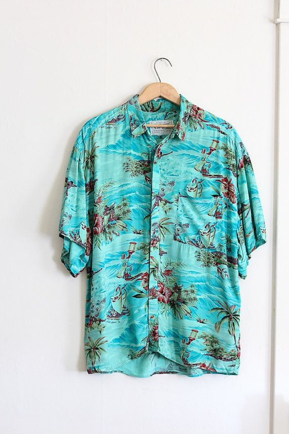 vintage 1950s style Hawaiian // mens 90s Hawaiian shirt with surfers and hula girls! // by FoxAndSeagull