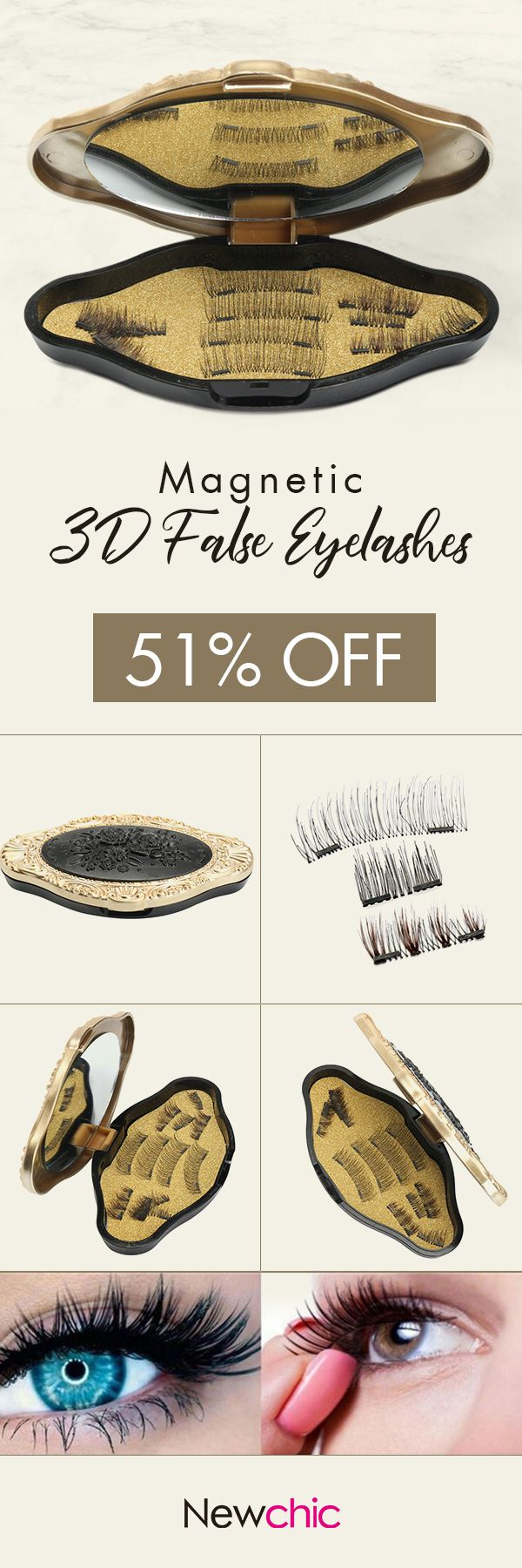 [Newchic Online Shopping] 51%OFF Magnetic 3D False Eyelashes