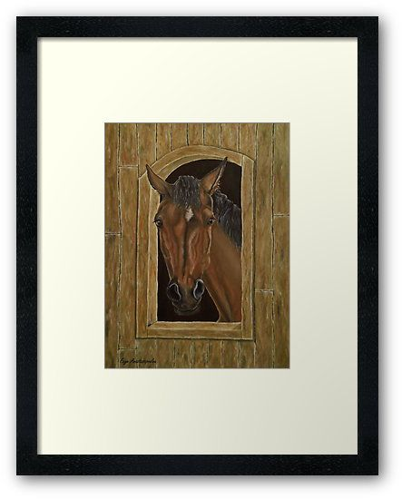 Framed print, painting, art, horse, equine, portrait, animal, wildlife, stallion, western, realism, figurative, contemporary, modern, earthly colors, brown, wall art, wall decor, decorative items, for sale, redbubble