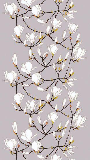 Keisarinna fabric with magnolia blossom print by Marimekko