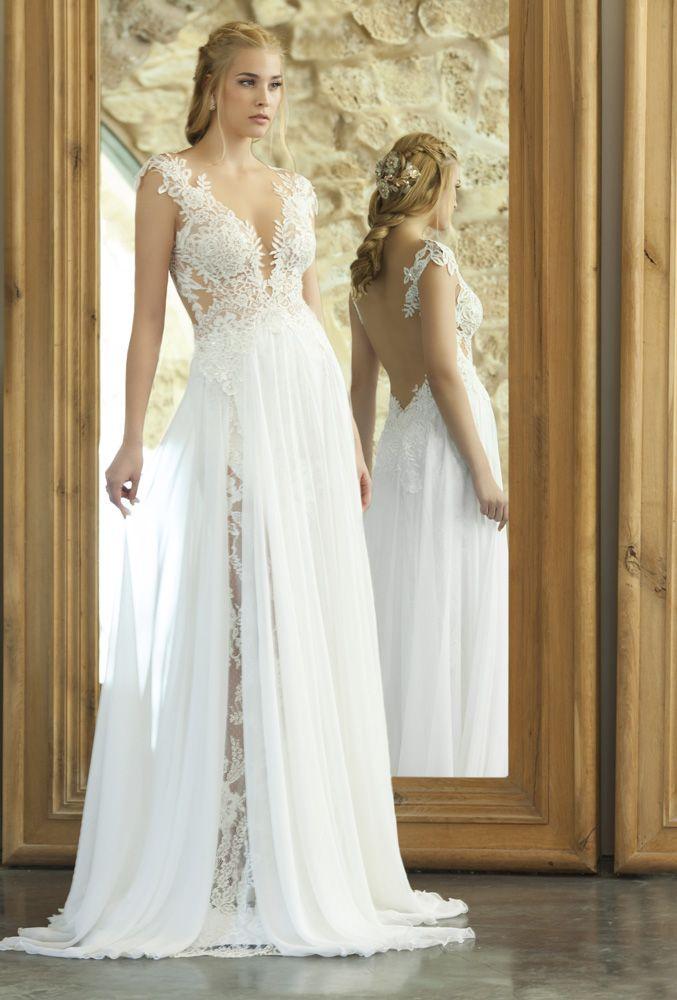 Elegant emanuel haute couture bridal sexy sheath wedding dress lace bodice illusion open back ethereal sheer overskirt Emanuel Wedding Dresses