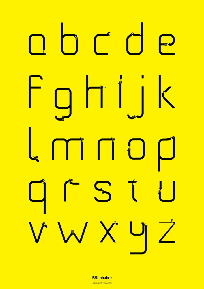 BSLphabet Poster - Yellow,: Bslphabet Poster, Products